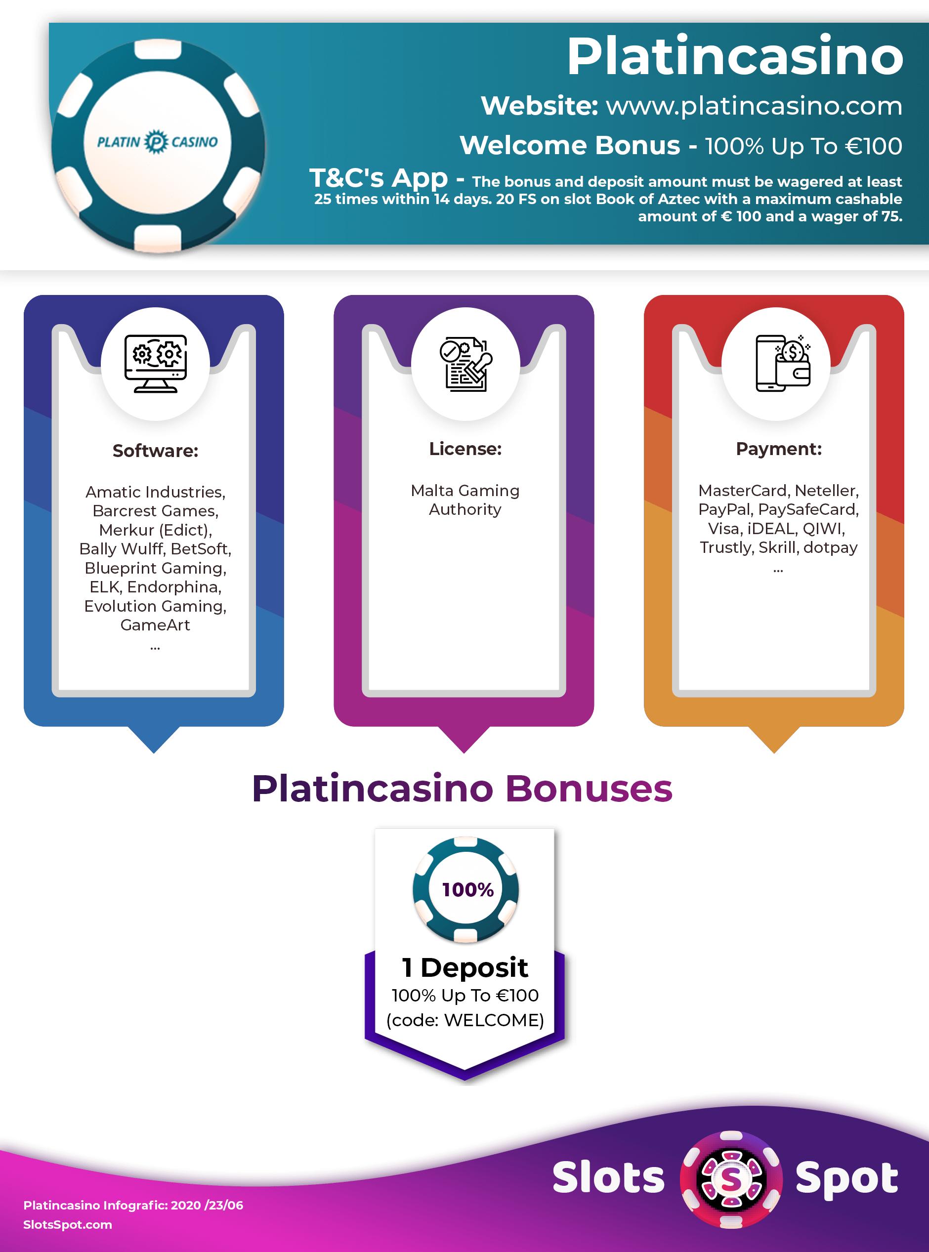 Platincasino Bonus Code