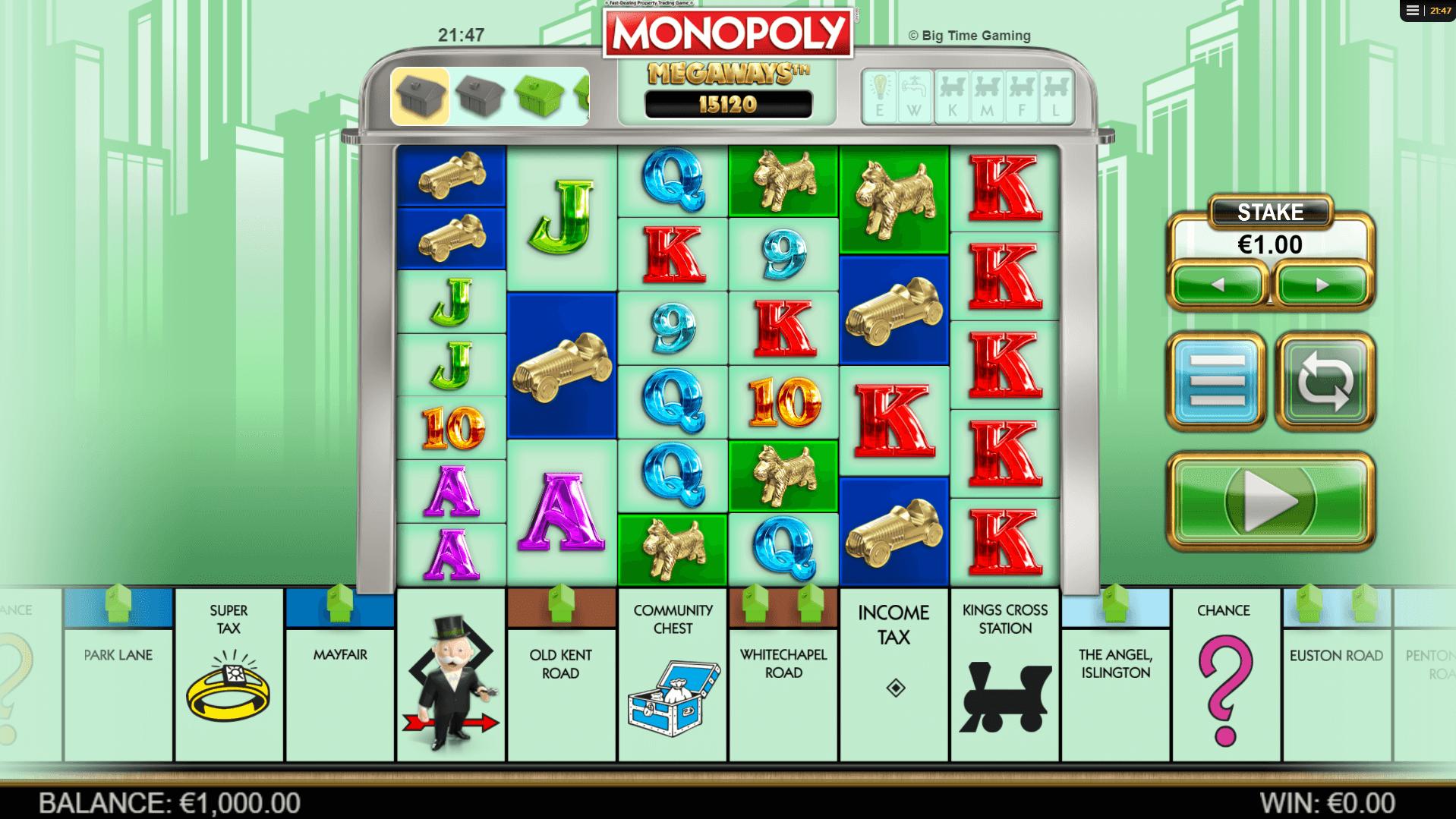 Monopoly Megaways slot machine screenshot