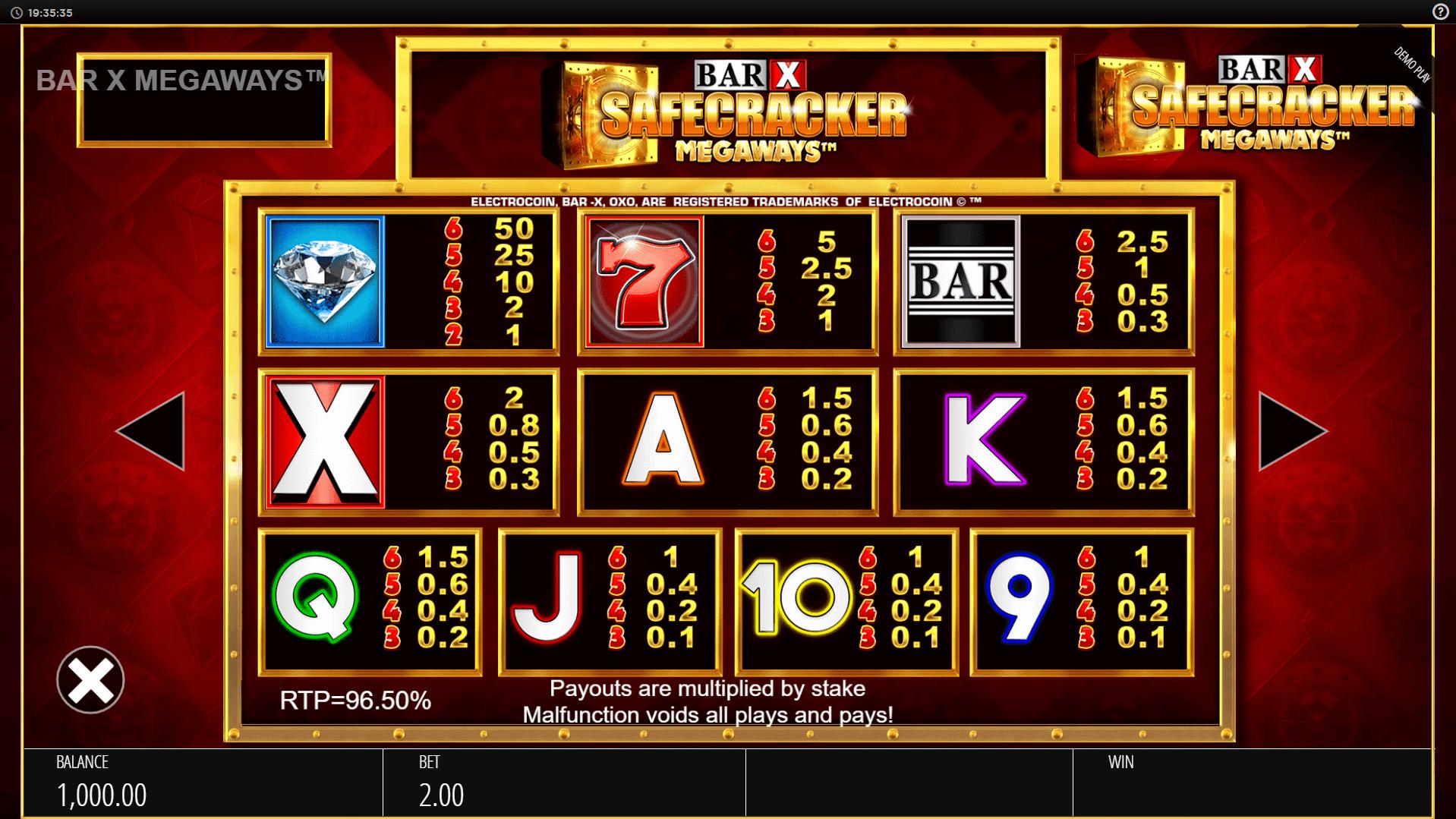 Bar X Safecracker Megaways Slot Machine