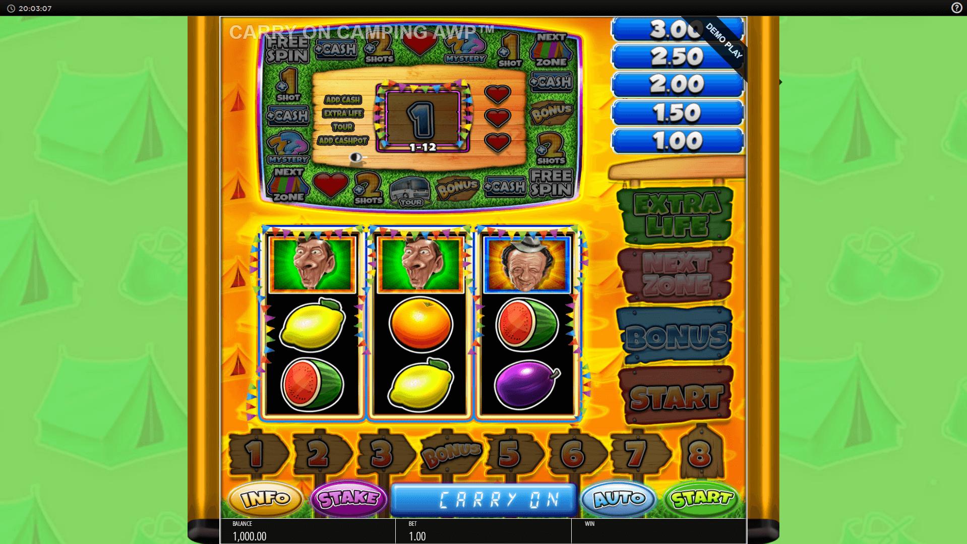 Carry On Camping Pub Fruit slot machine screenshot