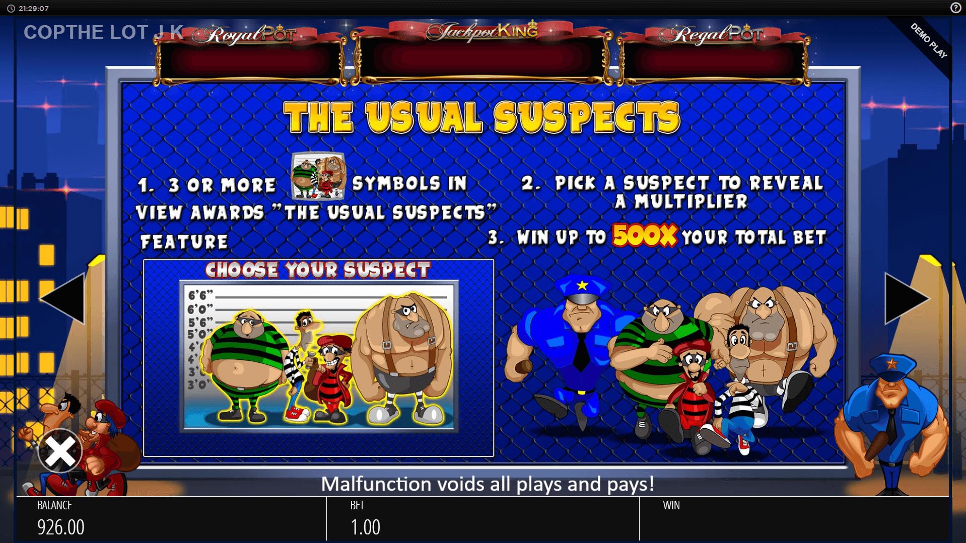 Cop the Lot Jackpot King Slot Machine