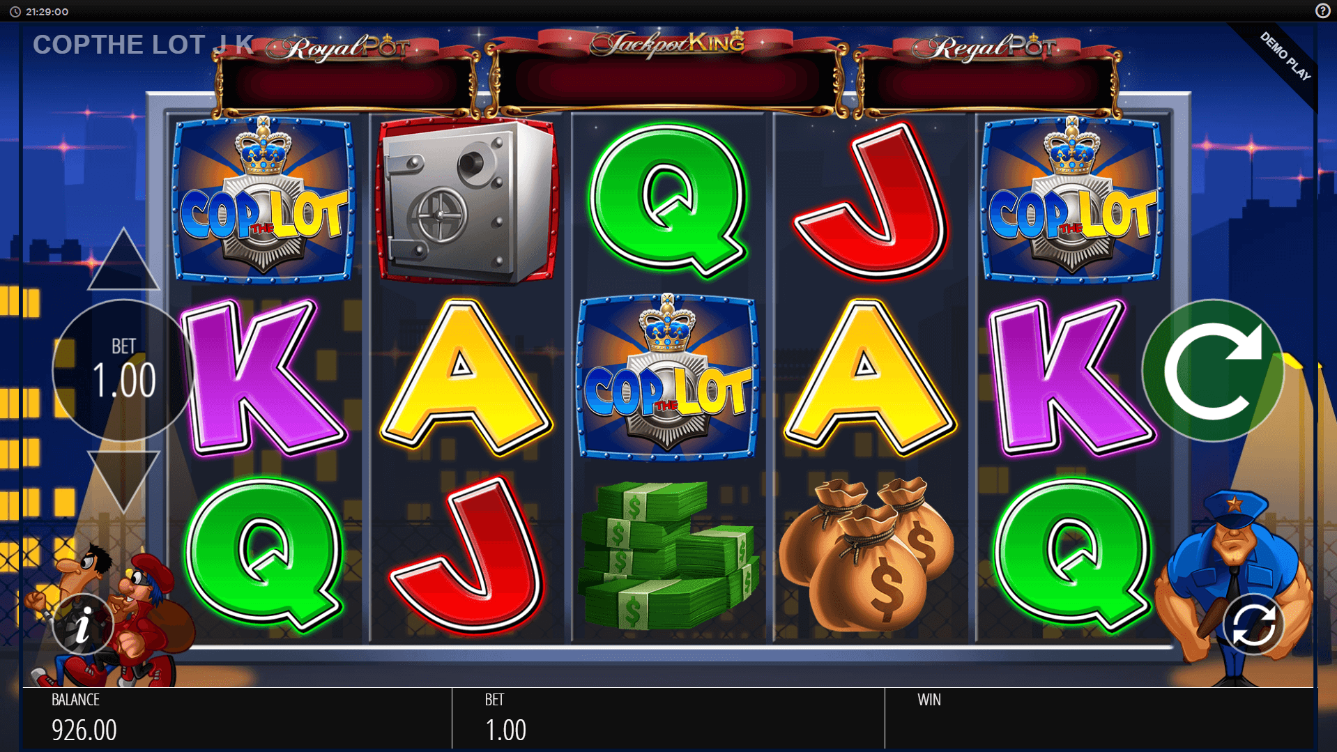 Cop the Lot Jackpot King slot machine screenshot