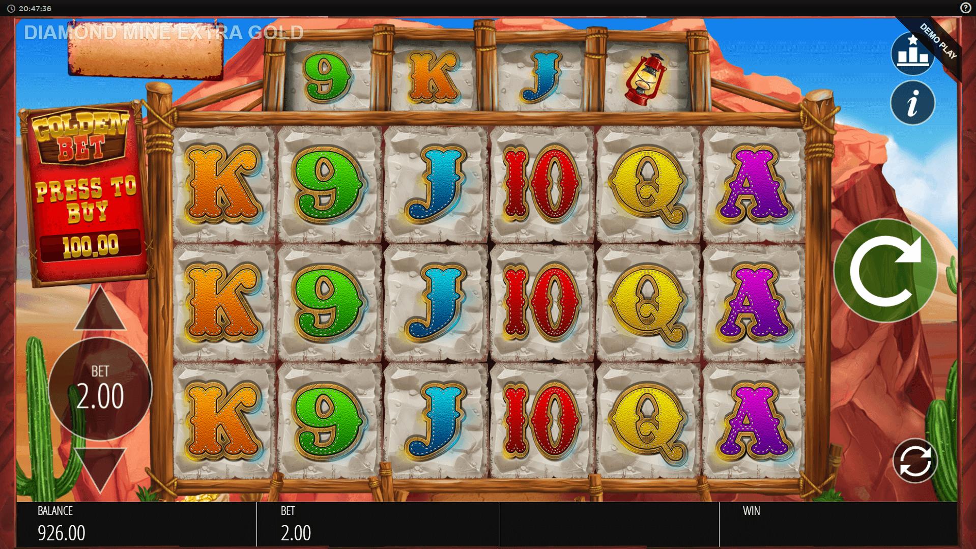 Diamond Mine Extra Gold Megaways slot machine screenshot