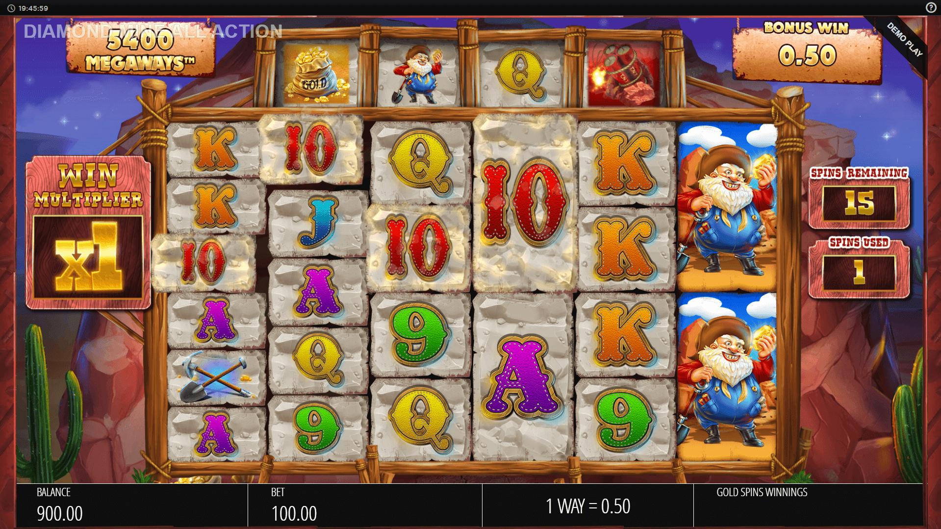 Diamond Mine Megaways All Action slot machine screenshot