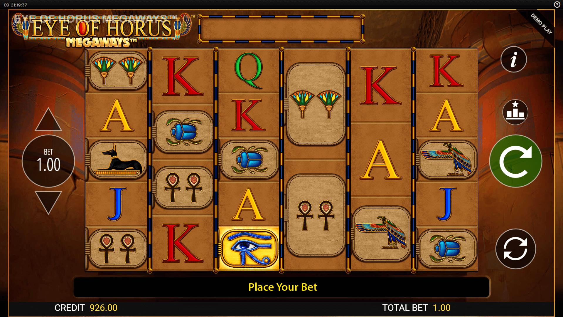 Eye of Horus Megaways slot machine screenshot