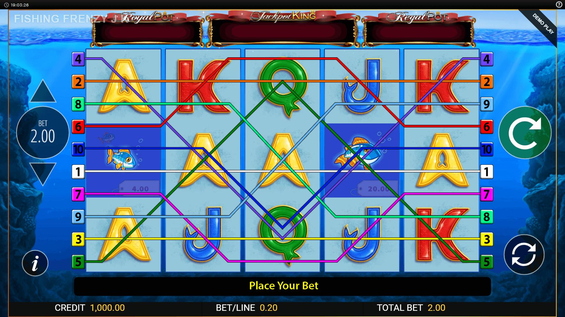 Fishin Frenzy Jackpot King slot machine screenshot