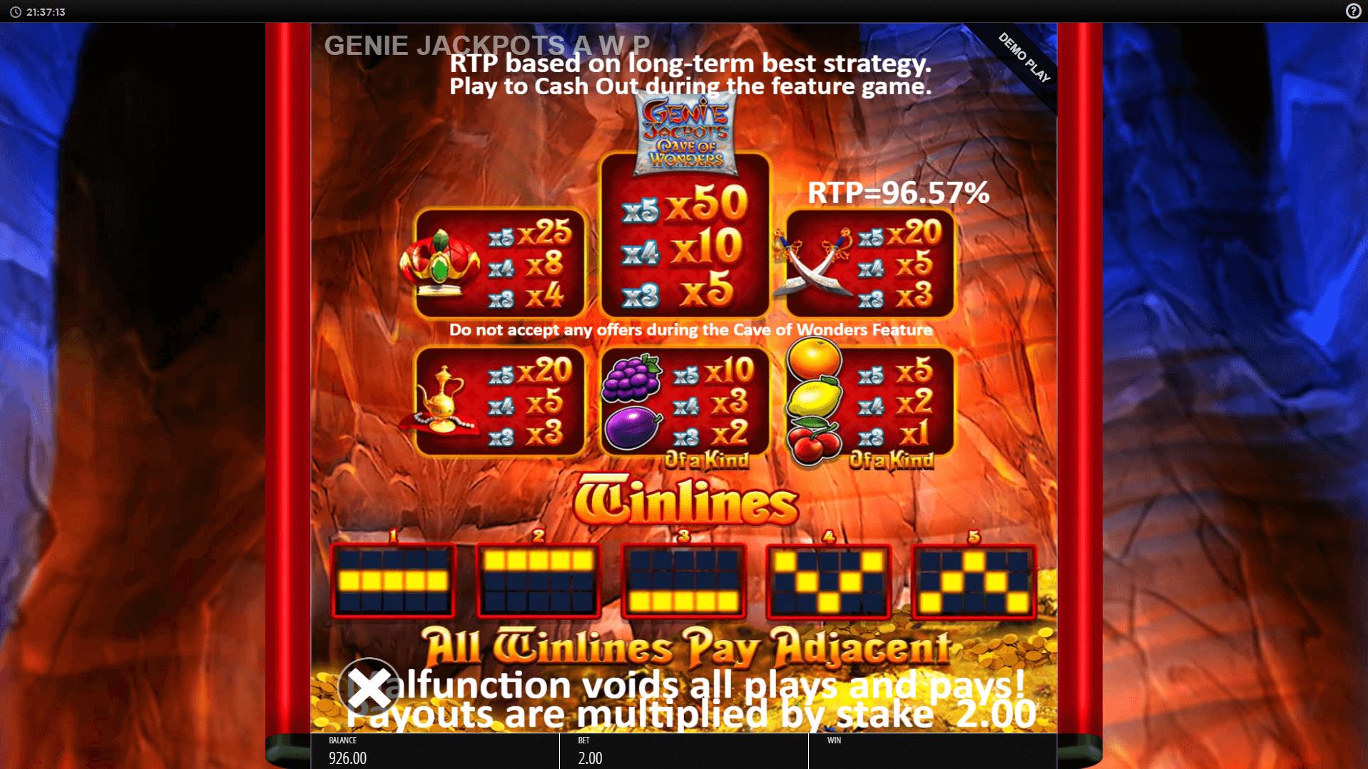 Genie Jackpots Cave Of Wonders Slot Machine