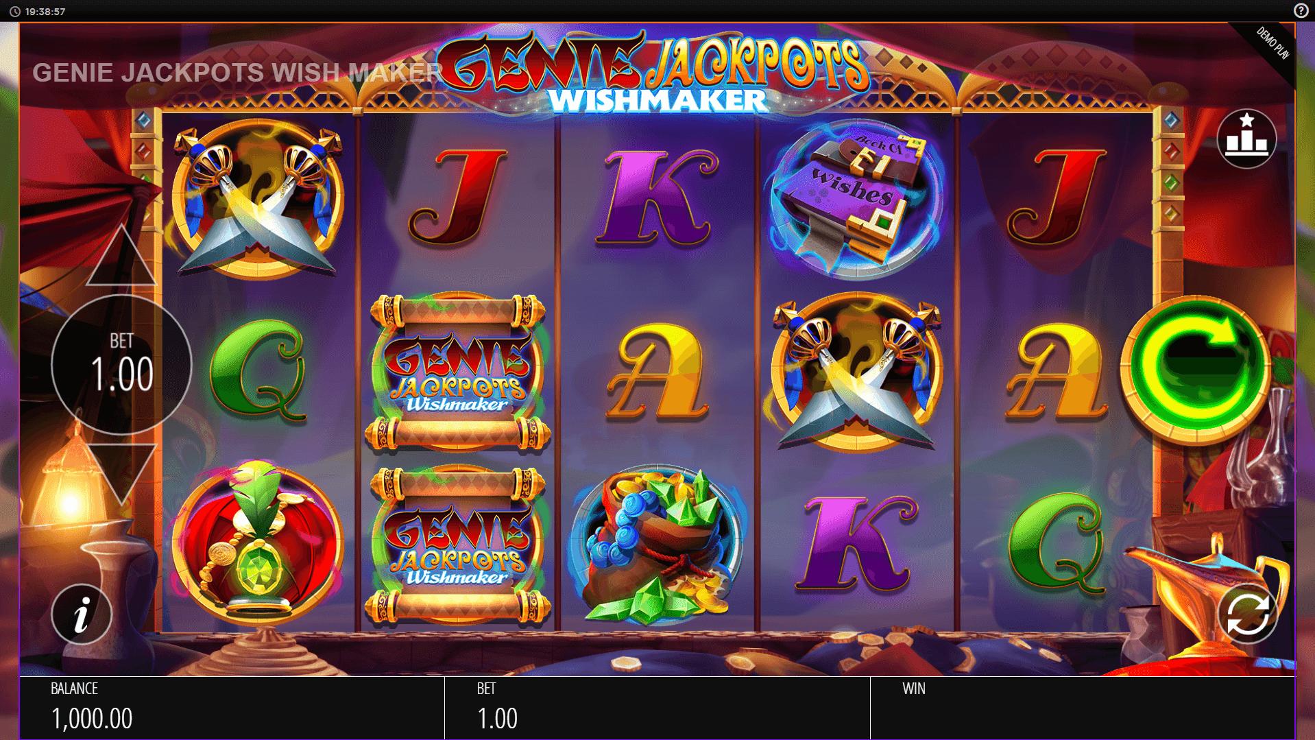 Genie Jackpots Wishmaker slot machine screenshot