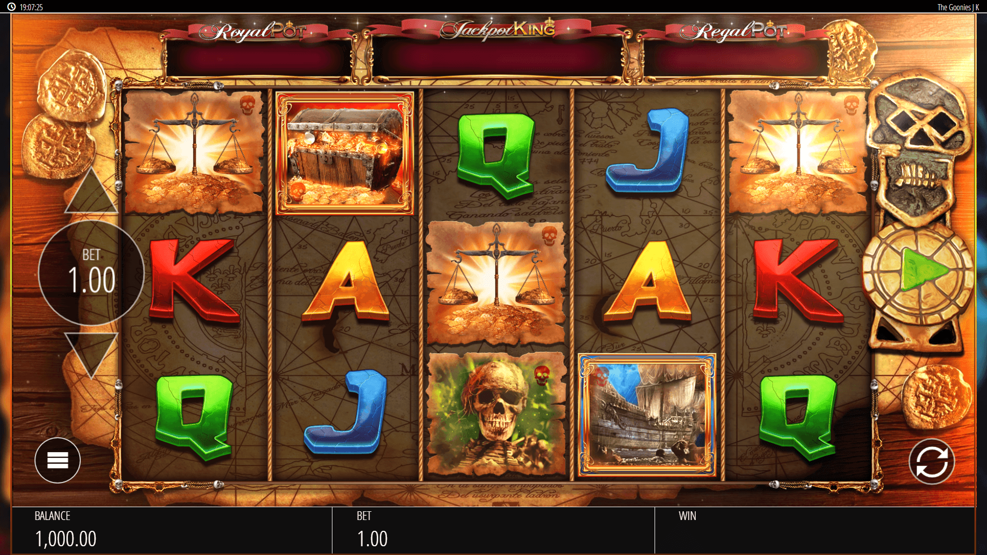 The Goonies Jackpot King slot machine screenshot