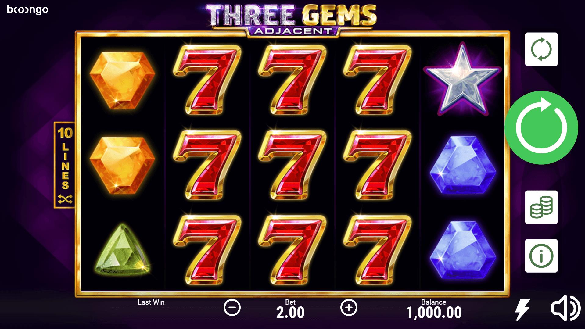 Three Gems slot machine screenshot