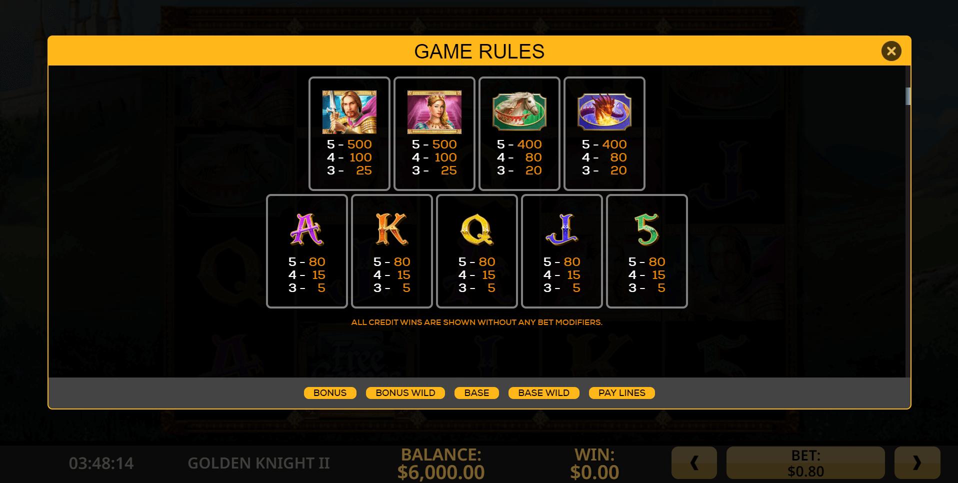 Golden Knight II Slot Machine