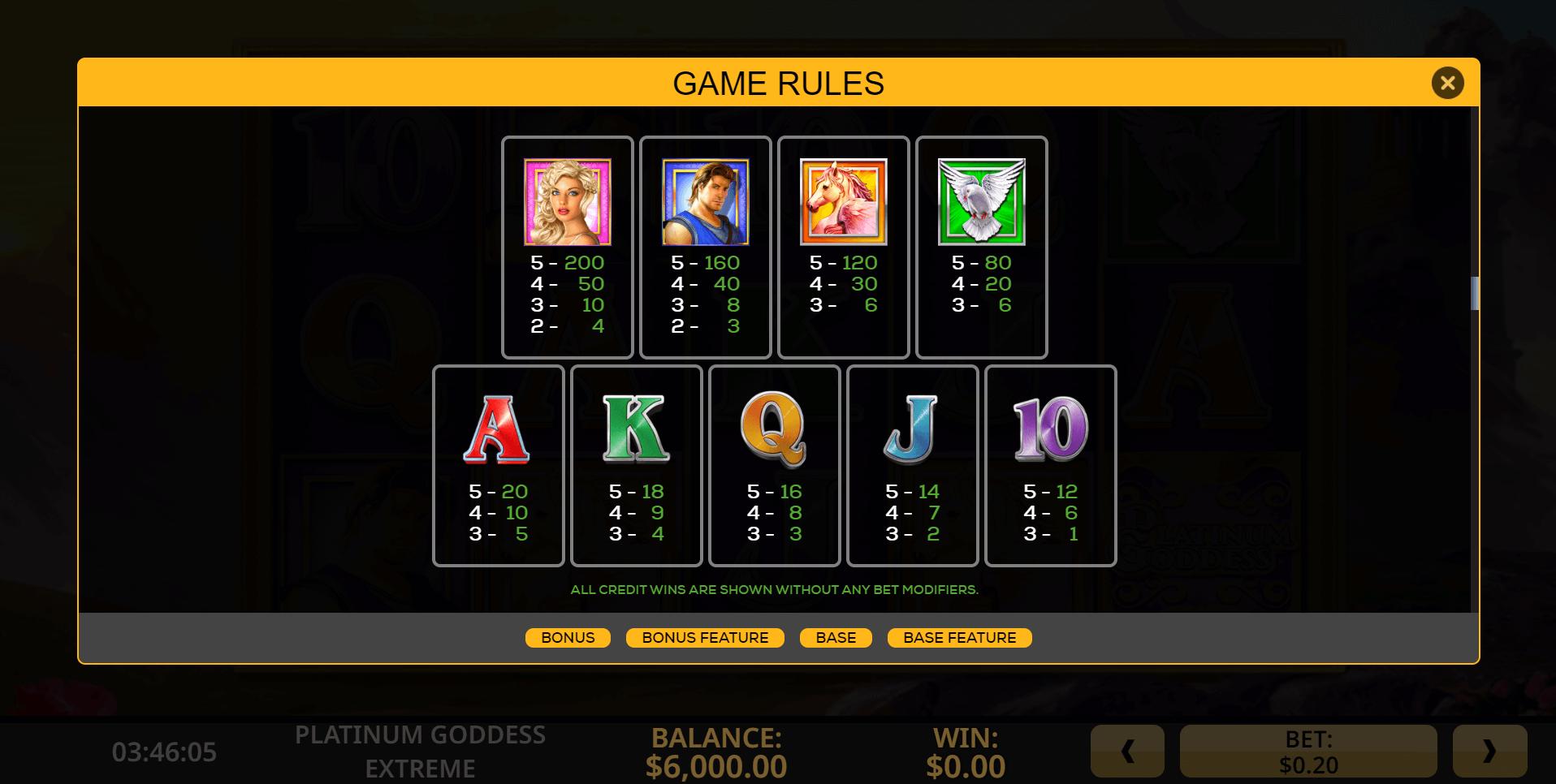 Platinum Online Casino Games