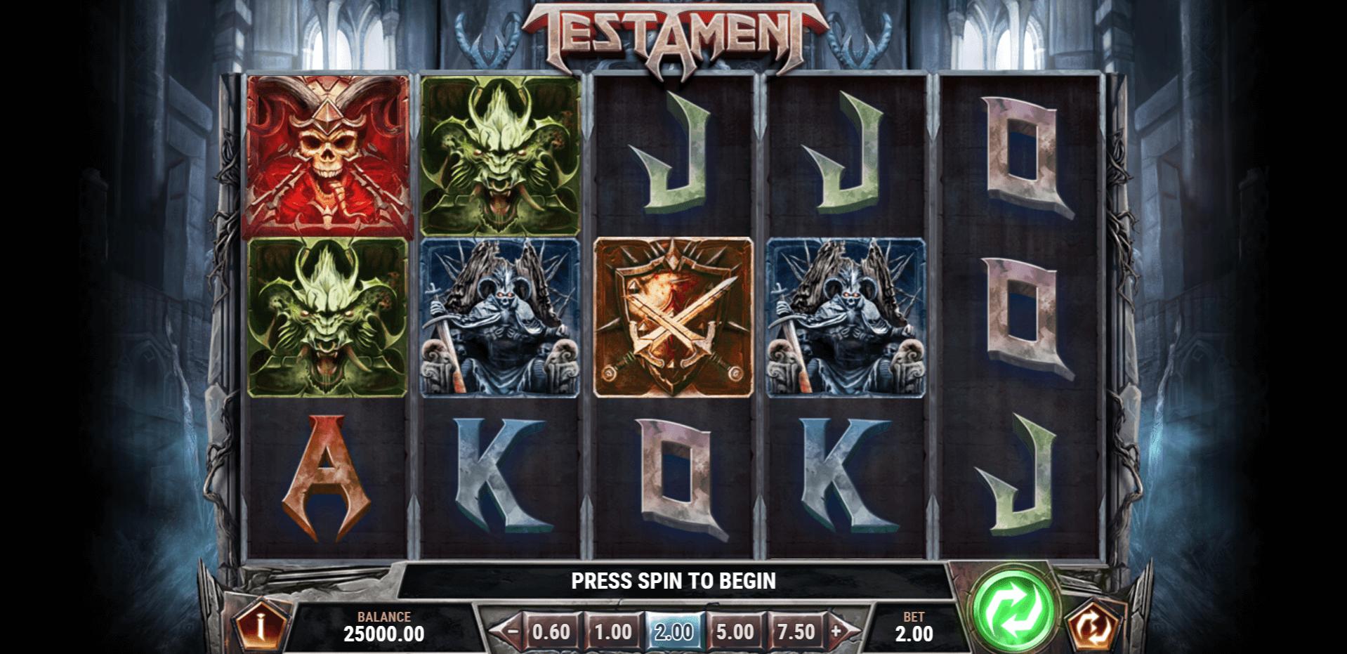 Testament slot machine screenshot