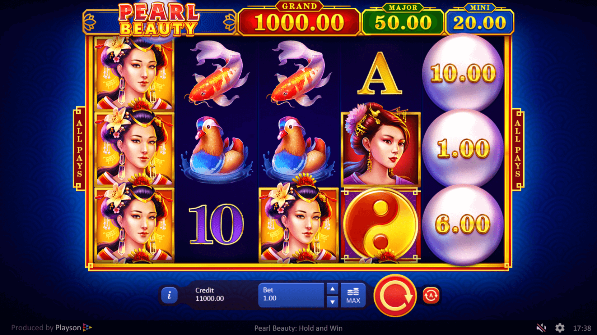 Pearl Beauty Hold and Win slot machine screenshot