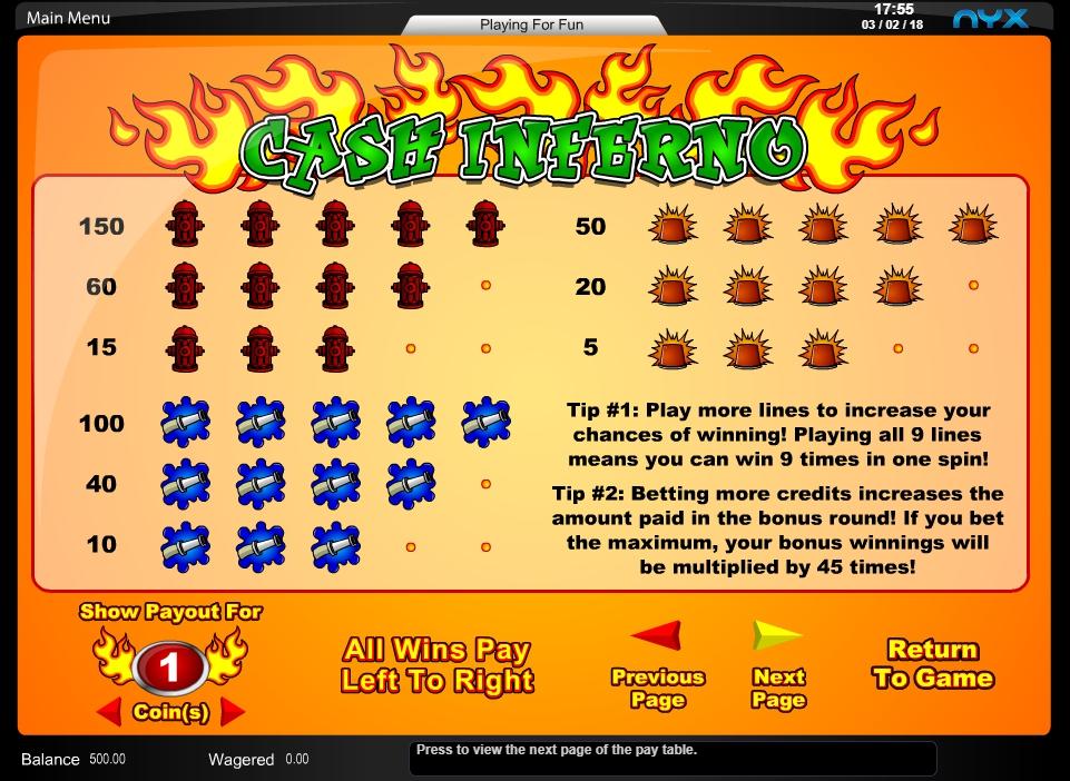 Cash Inferno Slot Machine Online