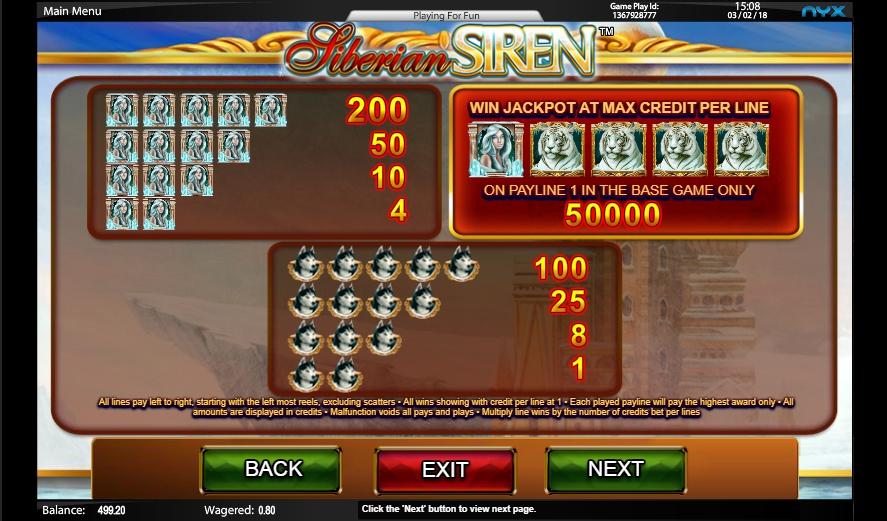 siberian siren slot machine detail image 3