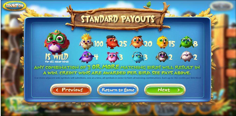 Zeros birds slot machine online betsoft noises
