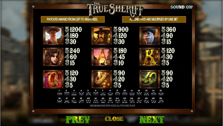 the true sheriff slot machine detail image 2