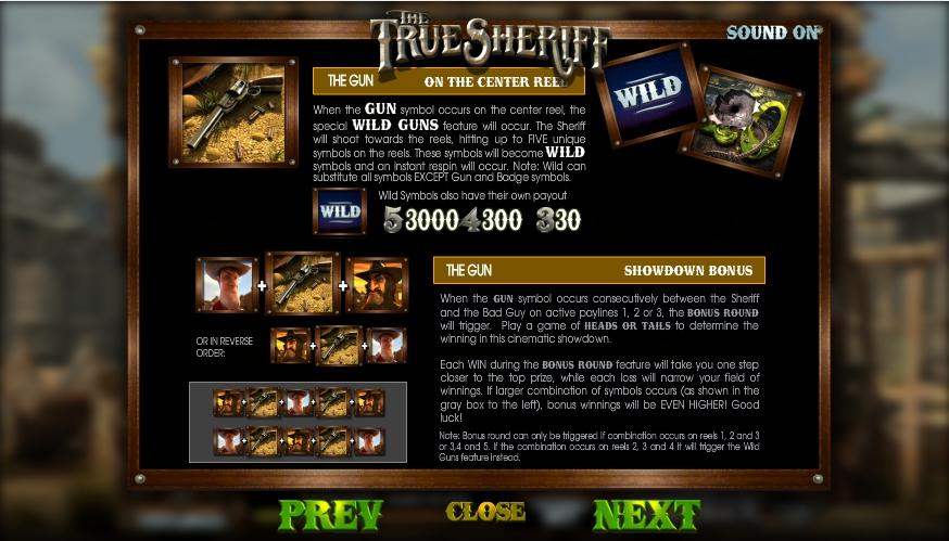 the true sheriff slot machine detail image 1