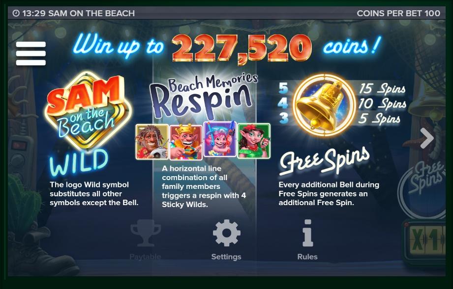 sam on the beach slot machine detail image 11