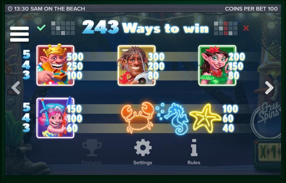 sam on the beach slot machine detail image 6