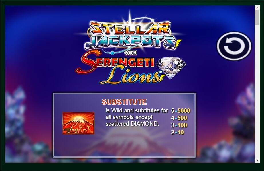 Stellar Jackpots with Serengeti Lions Slot Machine