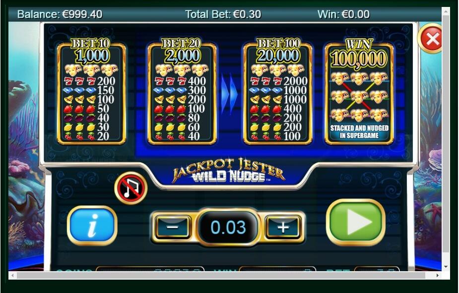Play No Download Jackpot Jester Wild Nudge Slot Machine