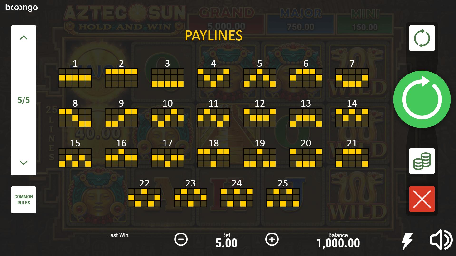 Aztec Sun Hold and Win Slot Machine