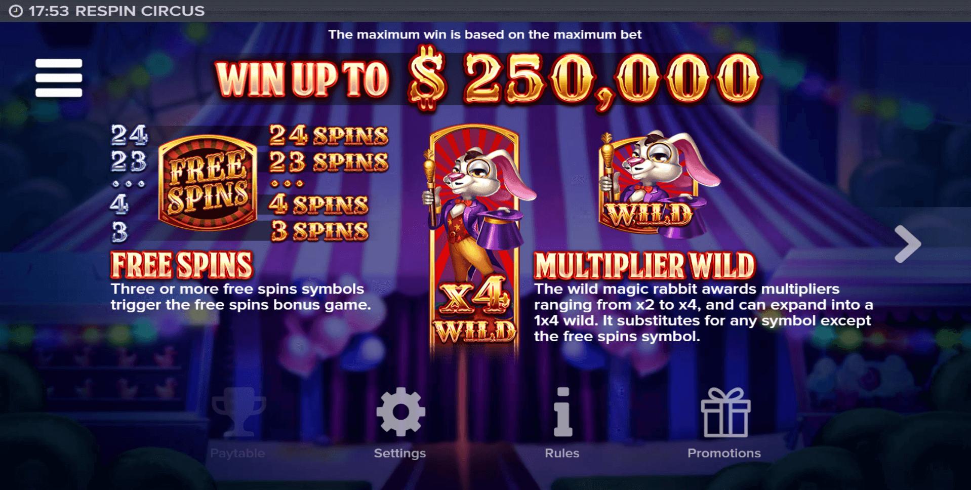 Respin Circus Slot Machine