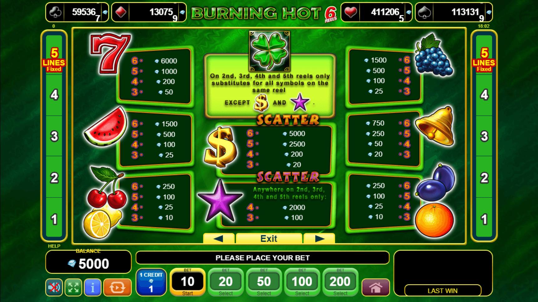 Burning Hot 6 Reels Slot Machine