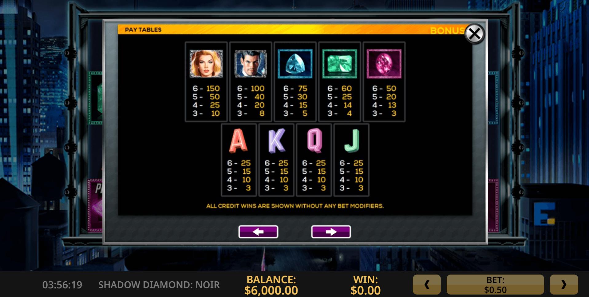 Shadow Diamond Noir Slot Machine