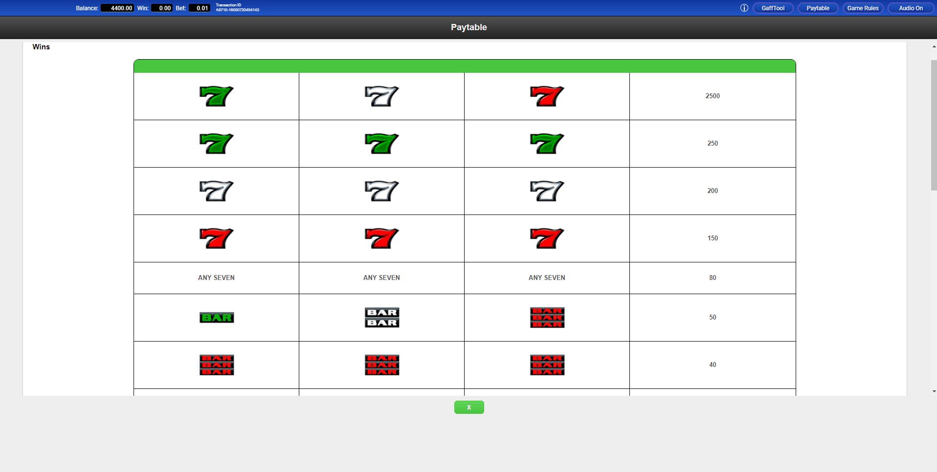 Tricolore 7s Slot Machine