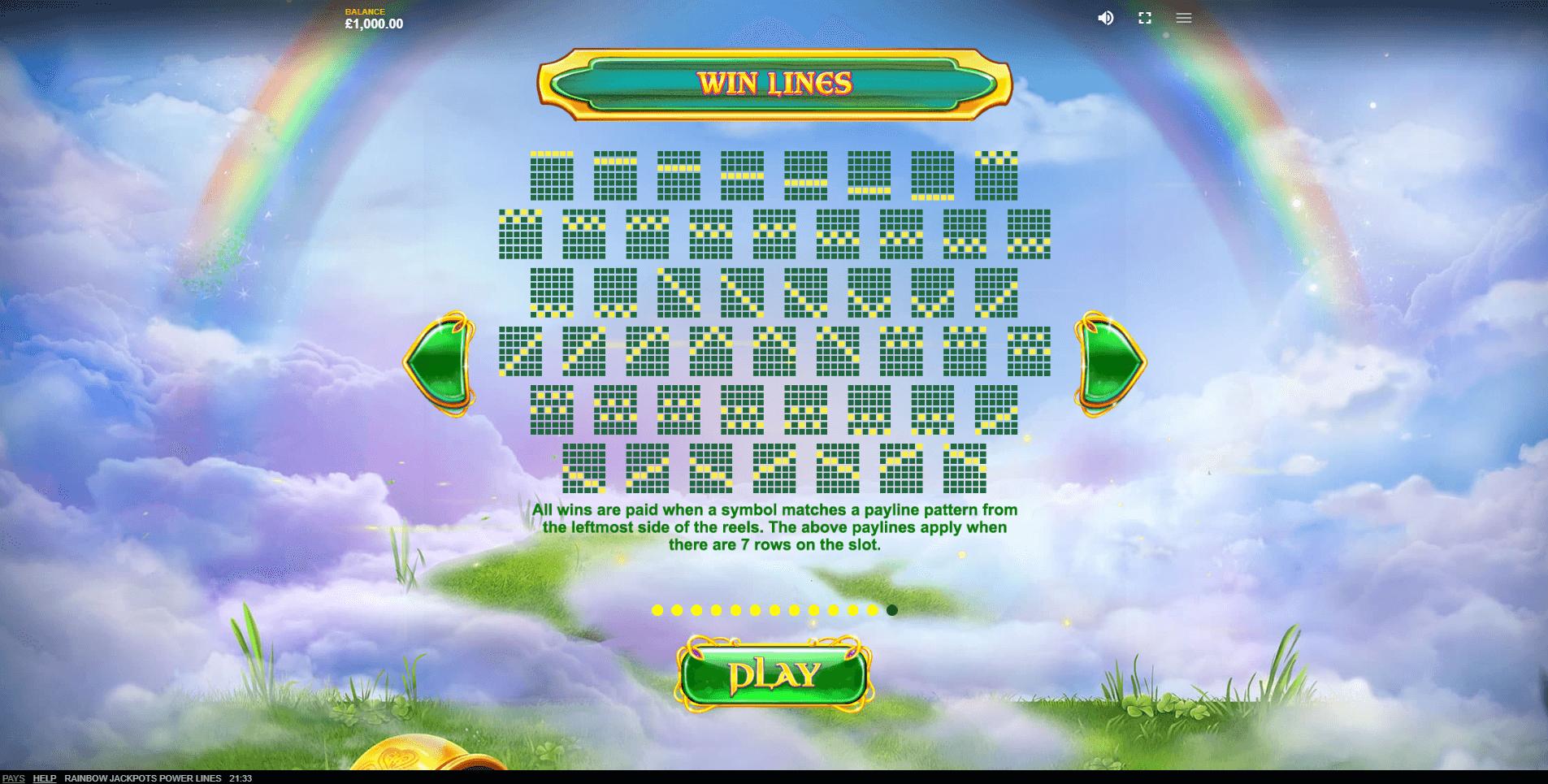 Rainbow Jackpots Power Lines Slot Machine