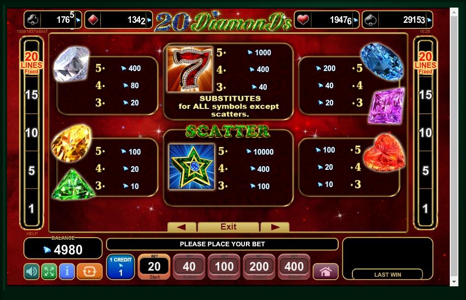 20 diamonds slot machine detail image 3