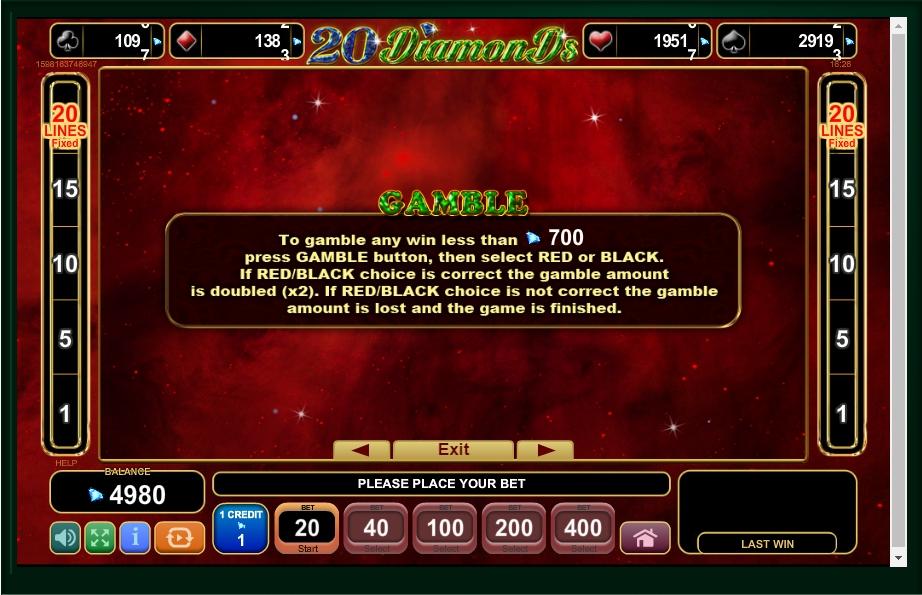 20 diamonds slot machine detail image 2