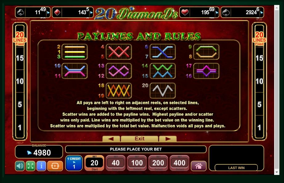 20 diamonds slot machine detail image 0