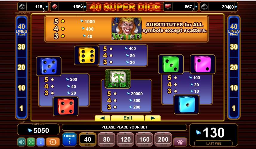 40 super dice slot slot machine detail image 3