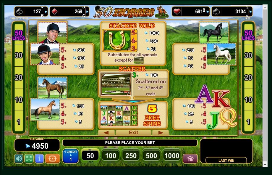 50 horses slot machine detail image 4