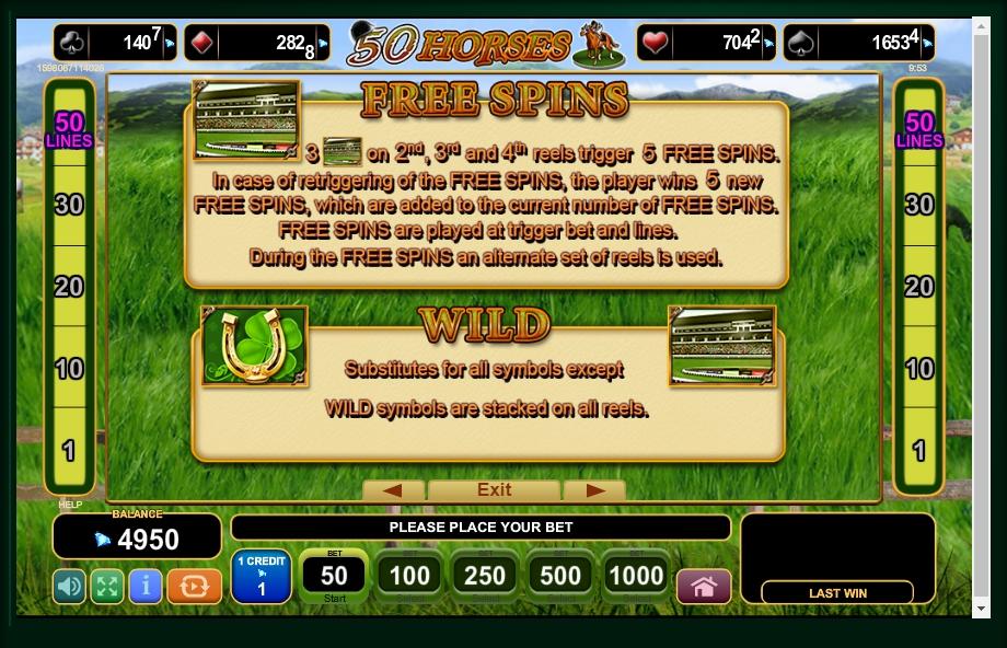 50 horses slot machine detail image 3