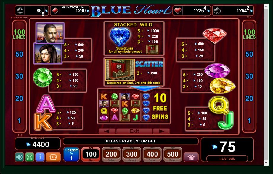 blue heart slot machine detail image 4