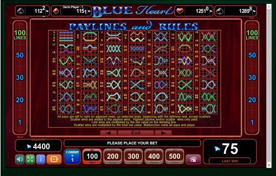 blue heart slot machine detail image 0