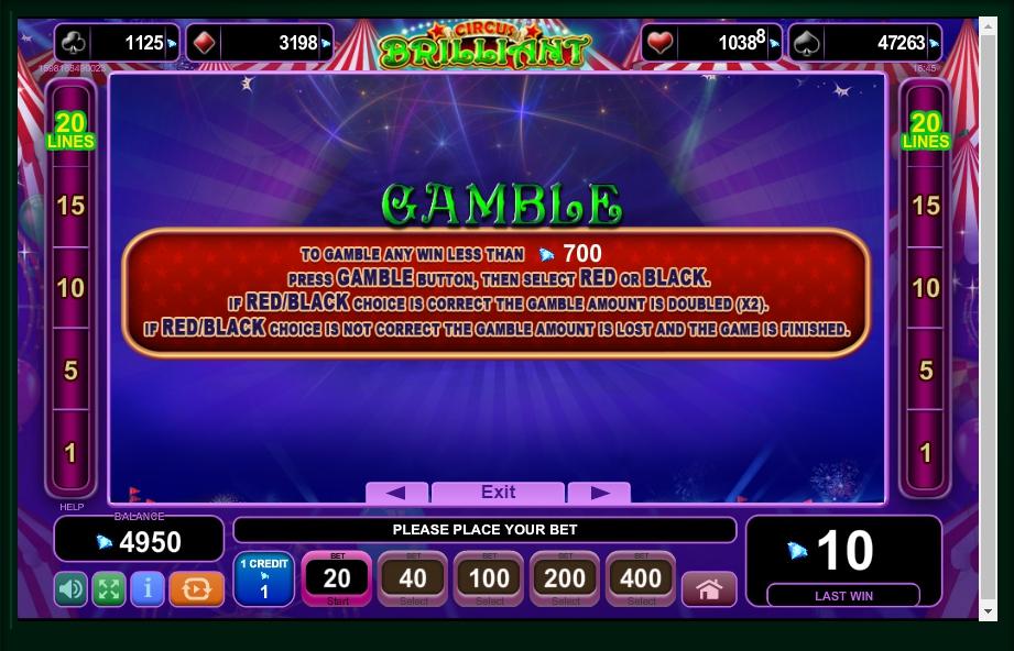 circus brilliant slot machine detail image 2