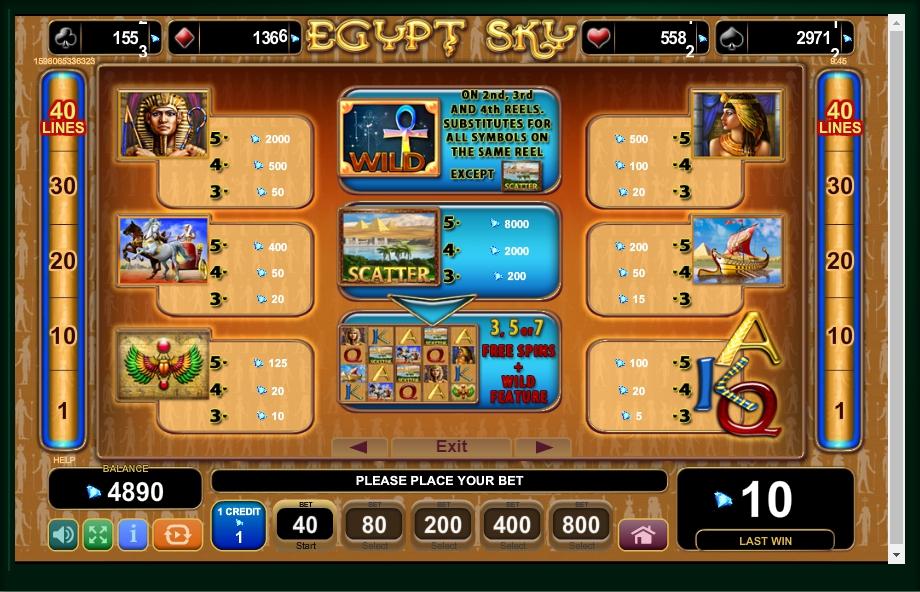 Egypt Sky Slot Machine