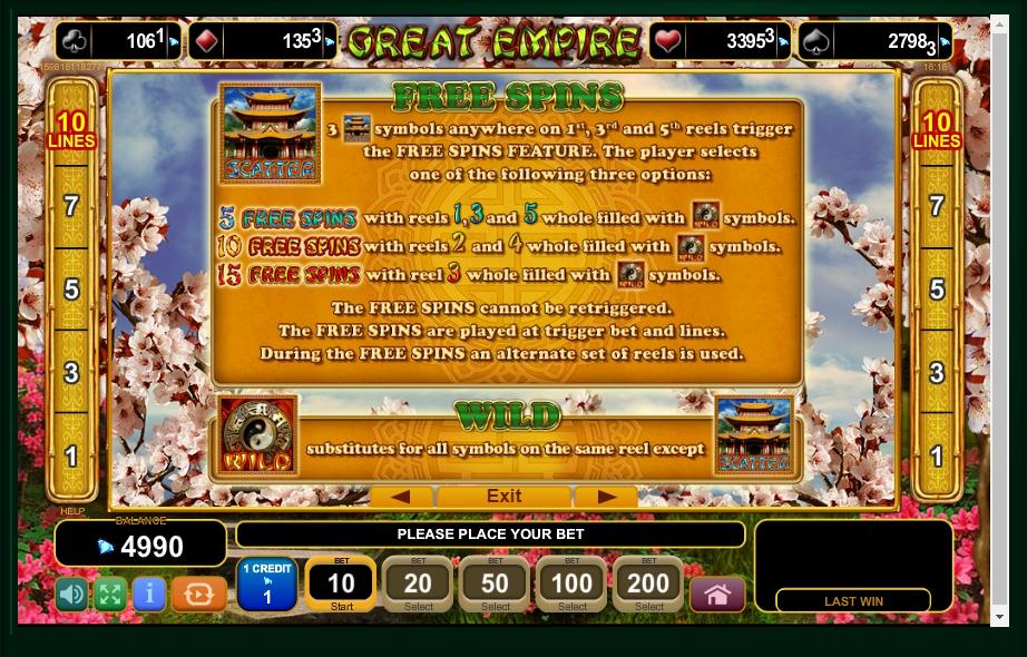 great empire slot machine detail image 3