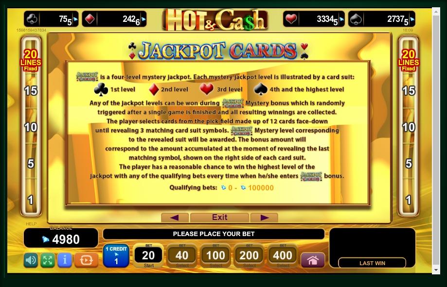 hot & cash slot machine detail image 1