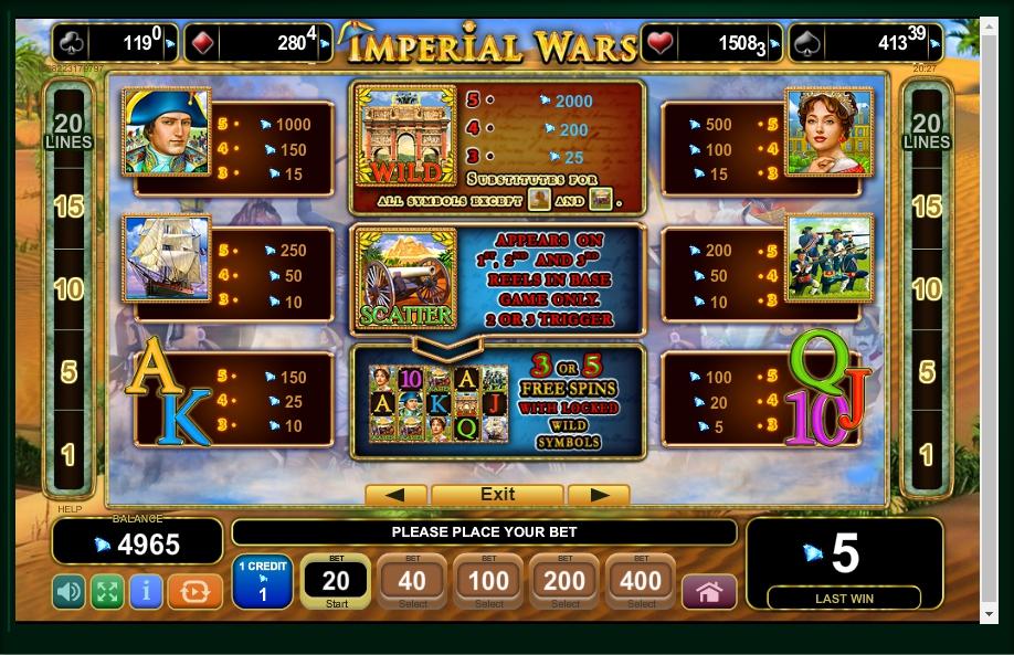 imperial wars slot machine detail image 4