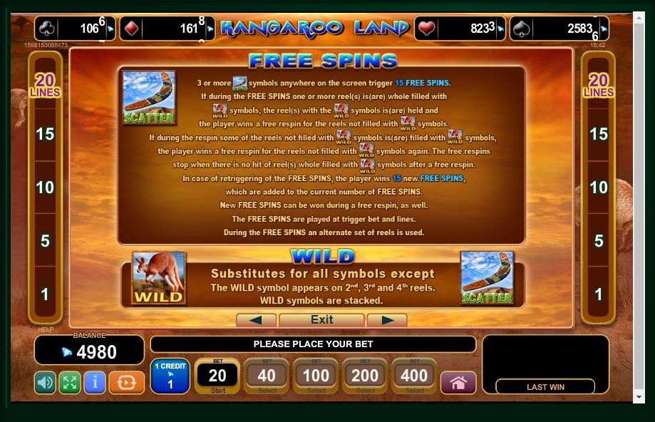 kangaroo land slot machine detail image 3