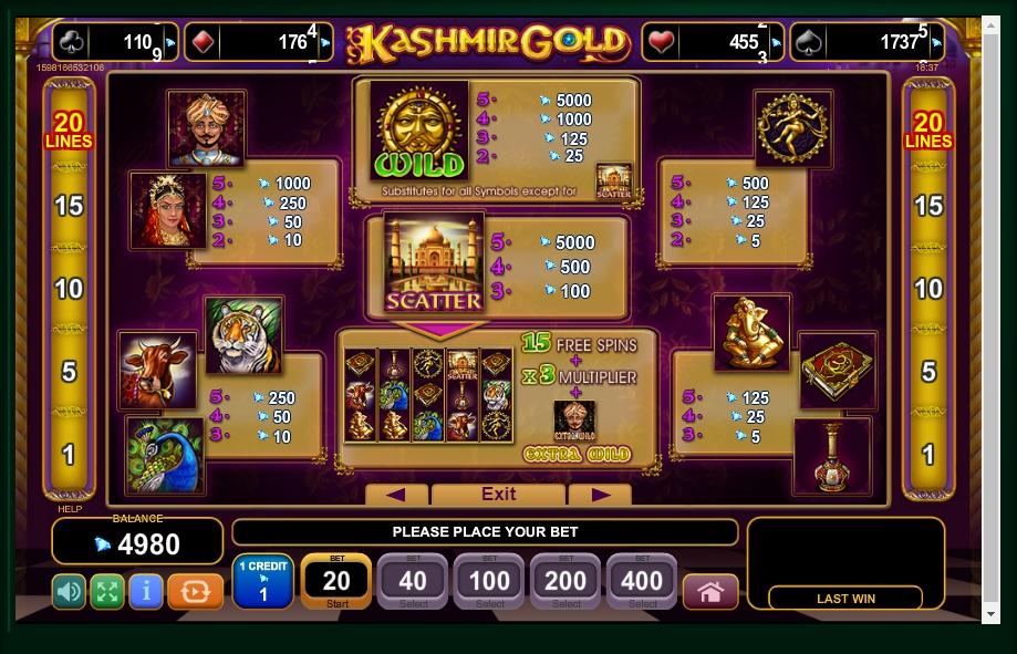 kashmir gold slot machine detail image 4