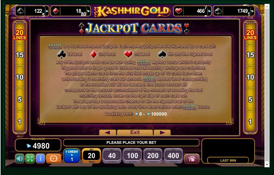 kashmir gold slot machine detail image 1
