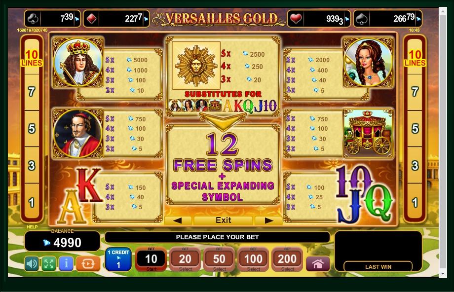versailles gold slot machine detail image 4